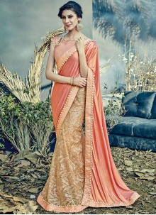 Thrilling Peach Resham Work Lehenga Saree
