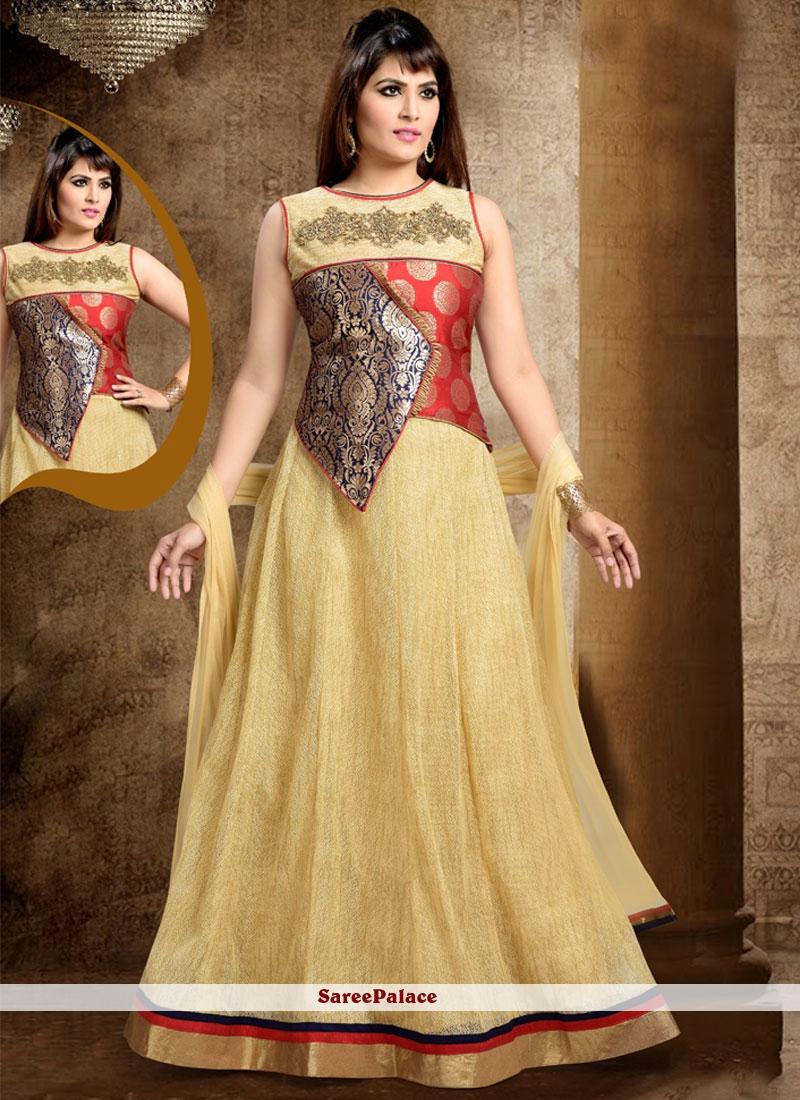 Tiptop Beige Readymade Anarkali Salwar Suit