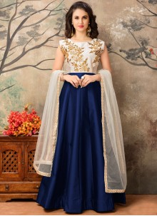 Tiptop Embroidered Work Navy Blue Tafeta silk Floor Length Anarkali Suit