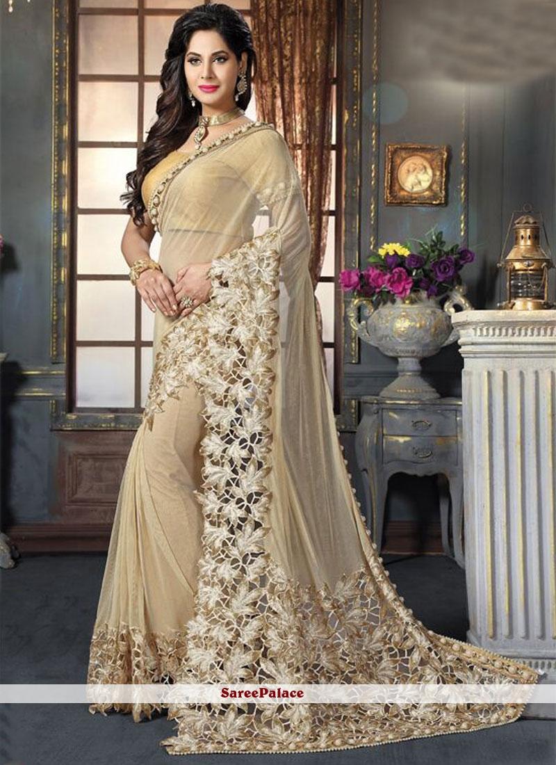 Tiptop Patch Border Work Fancy Fabric Designer Saree