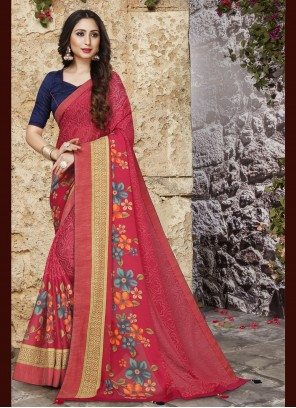 Tissue Brasso Abstract Print Pink Printed Saree