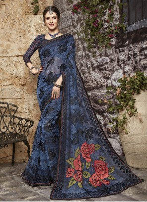 Blue Tissue Brasso Festival Printed Saree
