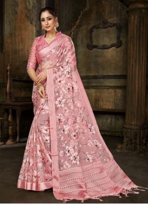 Tissue Designer Saree in Pink