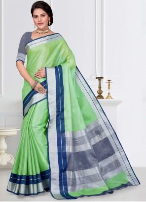 Green Tissue Fancy Work Classic Saree