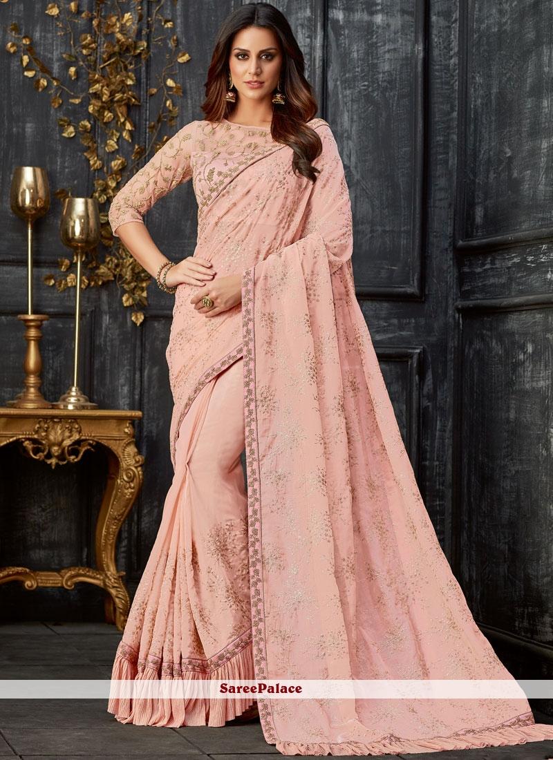 Pink Tissue Party Designer Traditional Saree