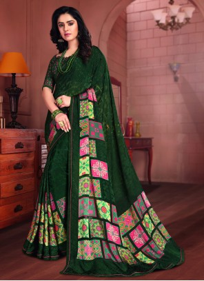 Green Tissue Printed Saree