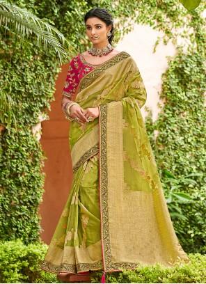 Green Tissue Traditional Designer Saree