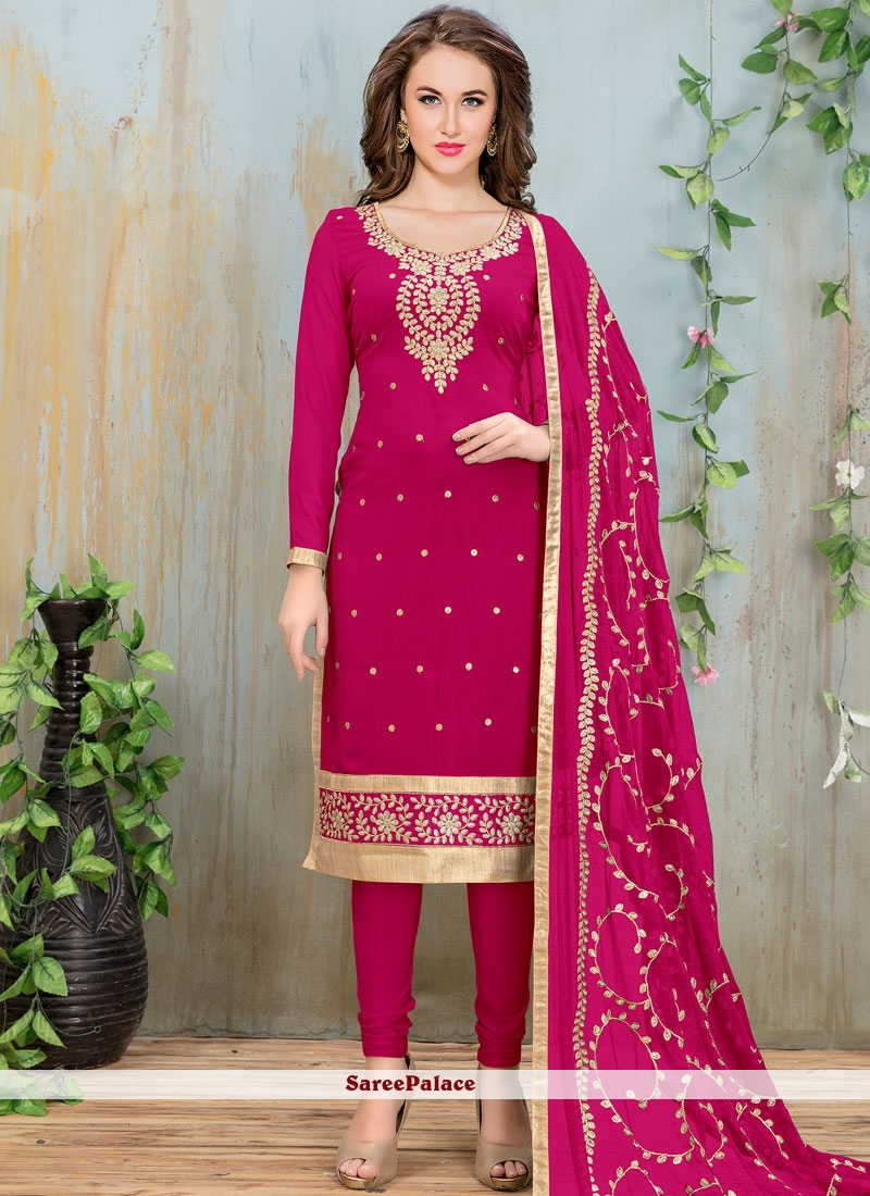 Titillating Lace Work Faux Georgette Churidar Suit