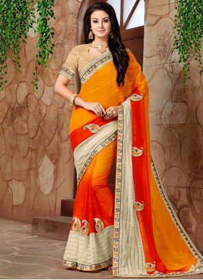 Titillating Orange and Red Shaded Saree
