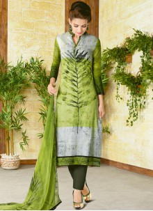 Titillating Print Work Cotton   Churidar Designer Suit
