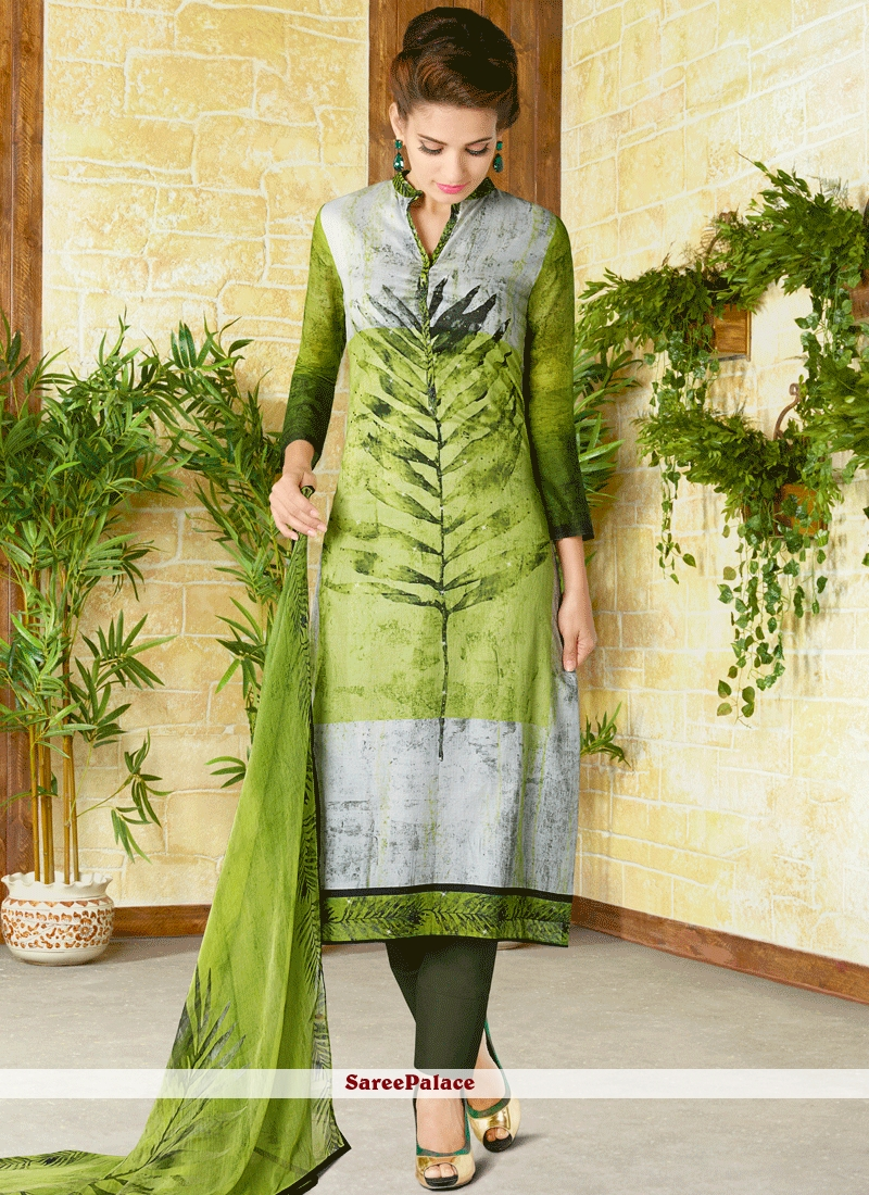 Titillating Print Work Cotton   Churidar Designer Suit