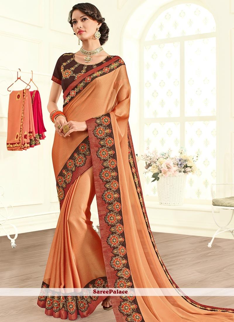 Titillating Resham Work Orange Designer Saree