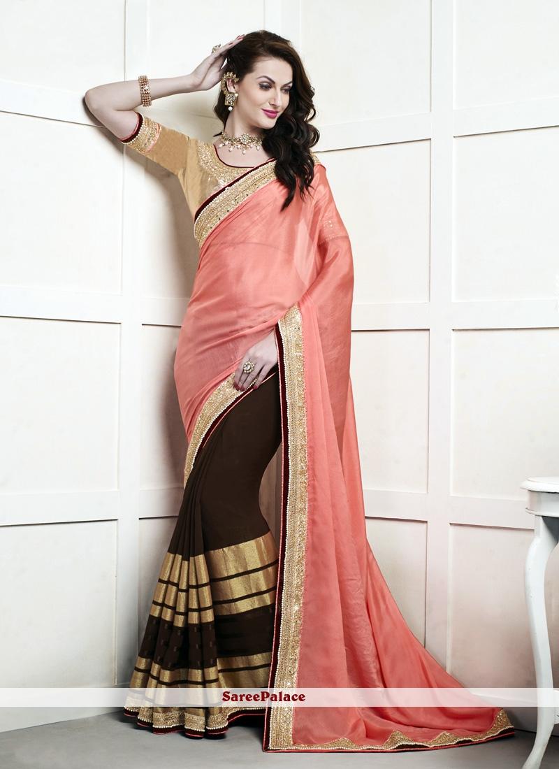 Titillating Viscose Brown and Peach Lace Work Half N Half Designer Saree