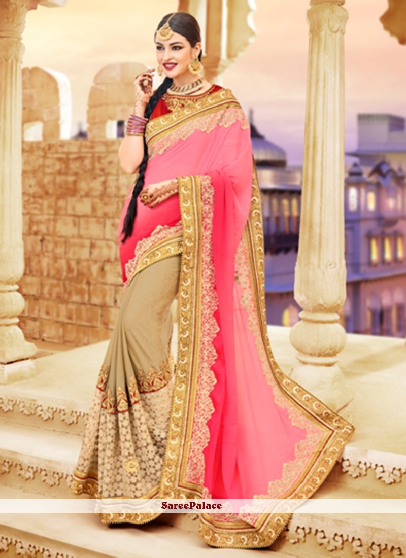 Topnotch Beige and Rose Pink Shaded Saree