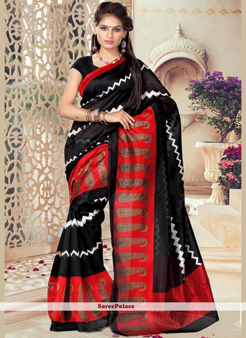 69c02df741 Buy Topnotch Black Print Work Art Silk Casual Saree Online