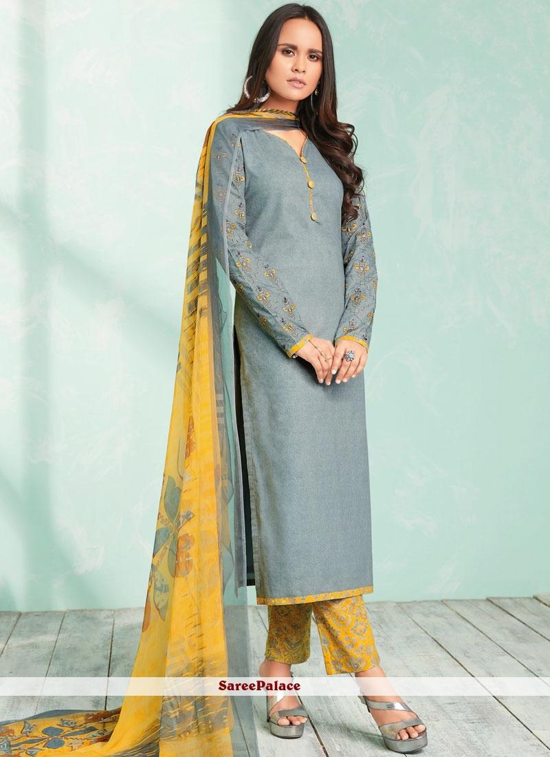 7f23c6305a Buy Topnotch Grey Cotton Palazzo Salwar Suit Online