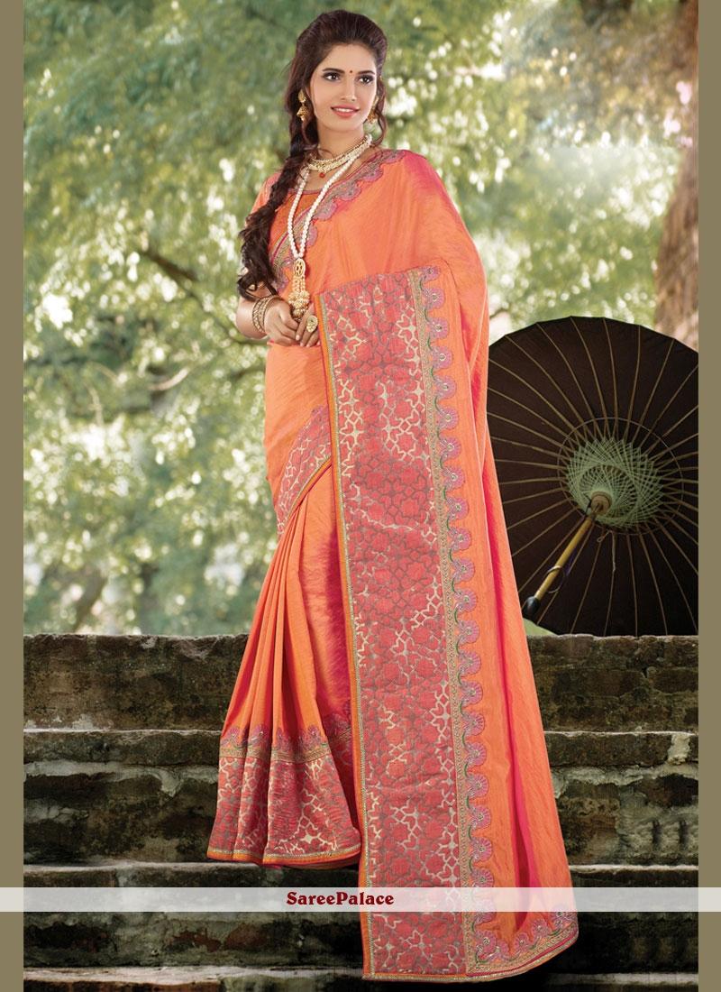 Topnotch Patch Border Work Orange Traditional Designer Saree