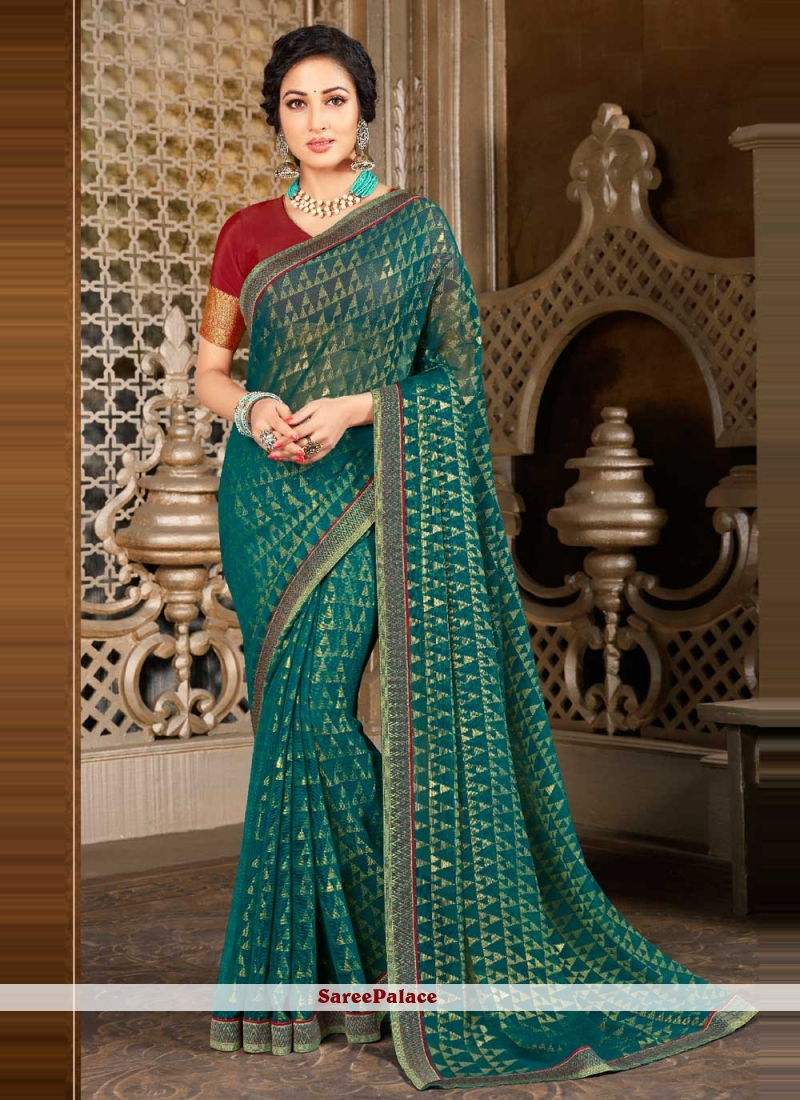 Traditional Designer Saree Abstract Print Faux Georgette in Teal