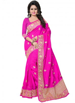 Traditional Designer Saree Embroidered Art Silk in Hot Pink