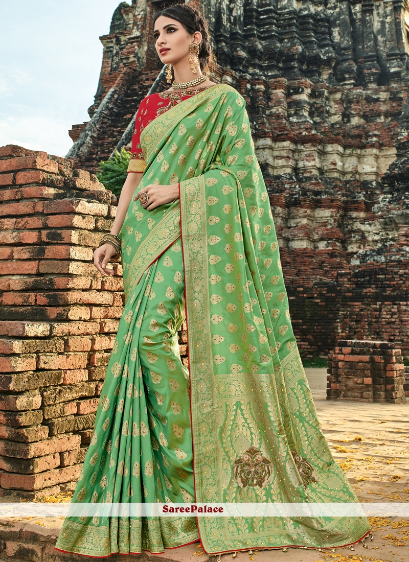 Traditional Designer Saree Embroidered Art Silk in Sea Green