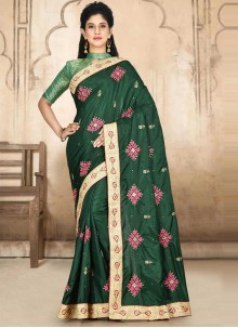 Traditional Designer Saree Embroidered Satin Silk in Green