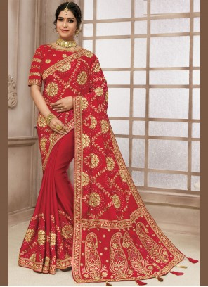 Traditional Designer Saree Embroidered Satin Silk in Red