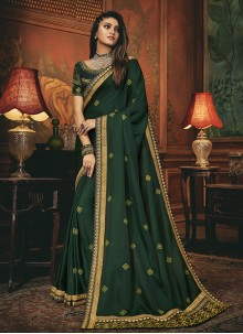 Traditional Designer Saree Embroidered Silk in Green