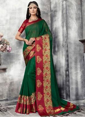 Traditional Designer Saree Fancy Banarasi Silk in Green