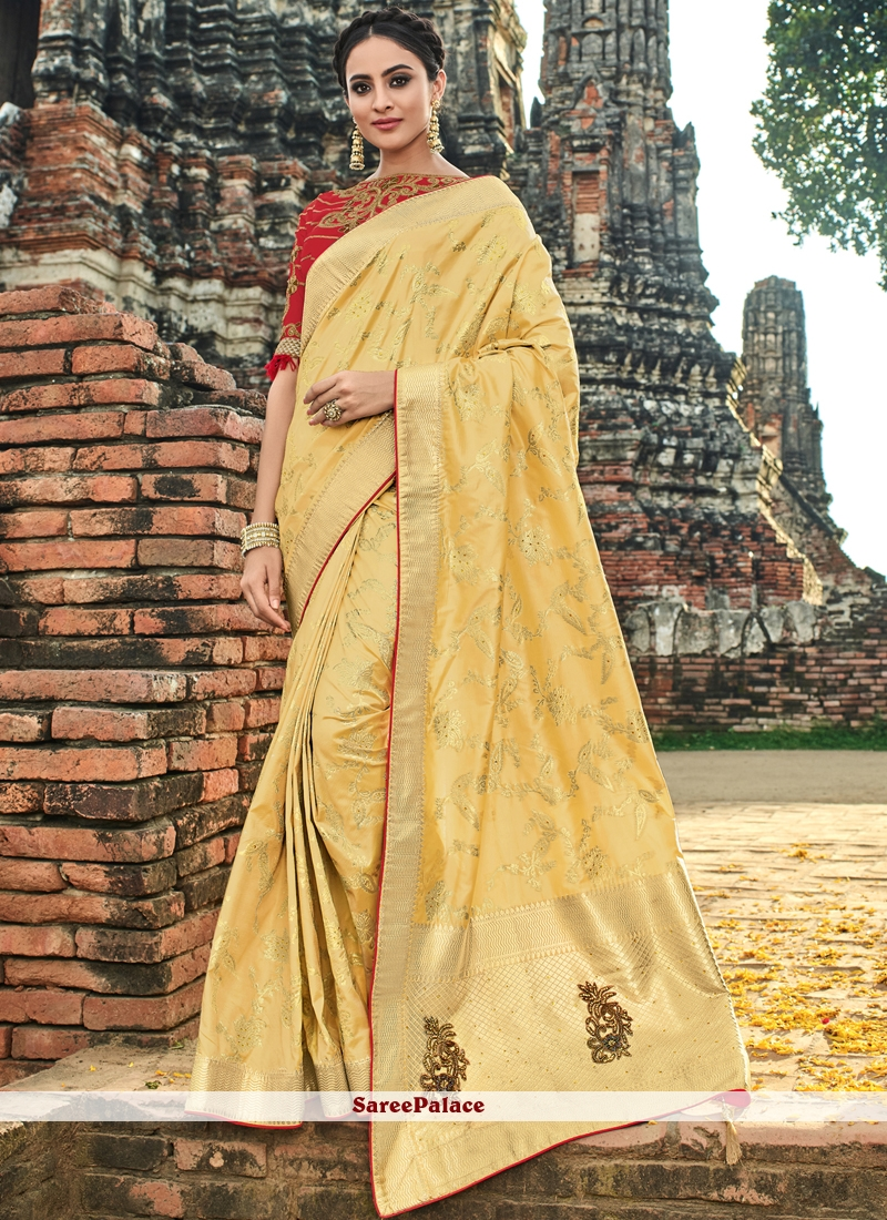 Yellow Traditional Designer Saree For Bridal