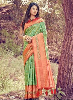 Green Traditional Designer Saree For Ceremonial
