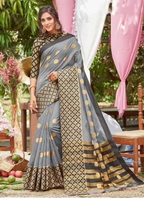 Grey Traditional Designer Saree For Ceremonial