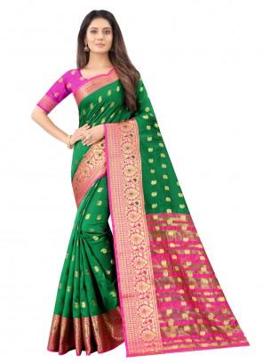 Green Weaving Zari Work Designer Saree For Ceremonial