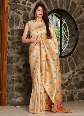 Traditional Beige Designer Saree For Engagement