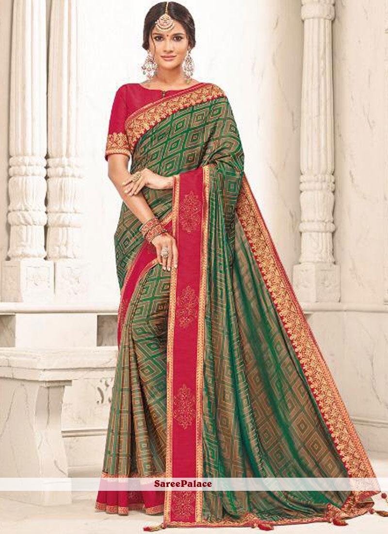 Green Traditional Designer Saree For Festival