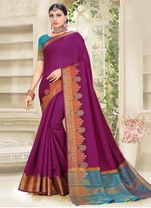 Traditional Magenta Designer Saree For Festival