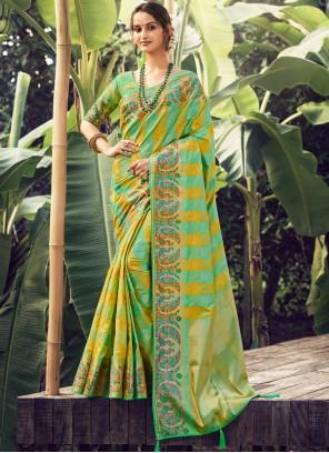 Traditional Designer Green Saree For Festival