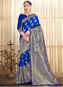 Traditional Blue Designer Saree For Festival