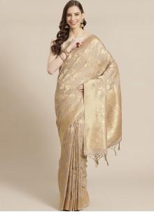 Traditional Beige Designer Saree For Festival