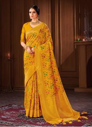 Yellow Banarasi Silk Traditional Designer Saree For Festival