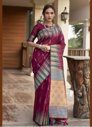 Magenta Traditional Designer Saree For Festival