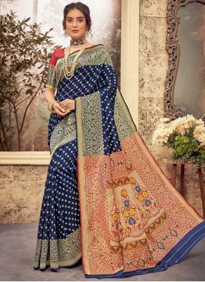 Blue Traditional Designer Saree For Festival