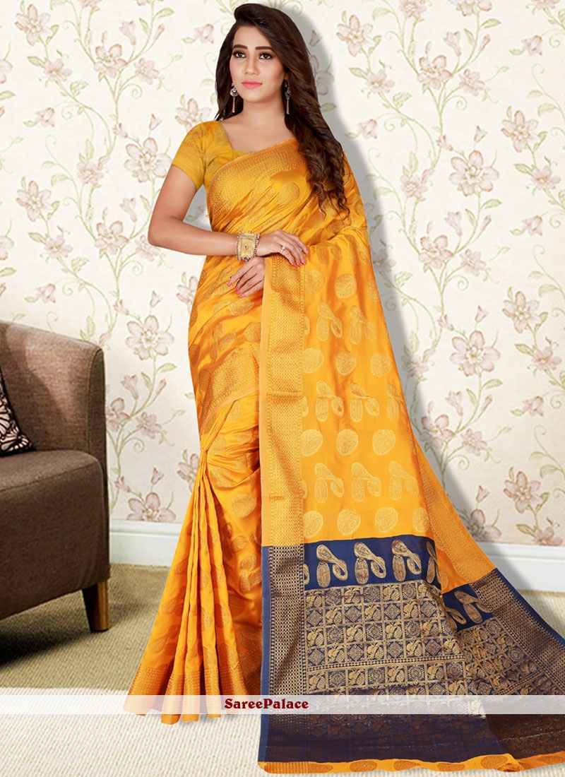 Yellow Traditional Designer Saree For Festival