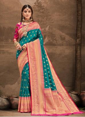 Rama Weaving Zari Traditional Designer Saree For Party