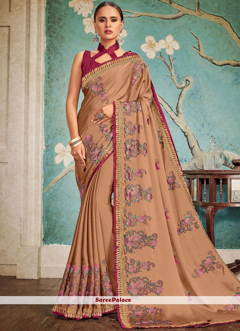 Brown Traditional Designer Saree For Party