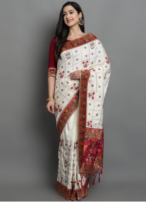 Traditional Off White Designer Saree For Sangeet