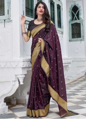 Purple Traditional Designer Saree For Sangeet