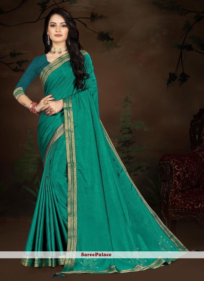 Traditional Designer Saree Lace Vichitra Silk in Rama