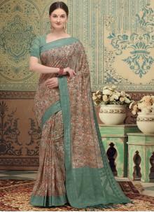 Traditional Designer Saree Print Silk in Multi Colour