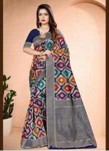 Traditional Designer Saree Printed Art Banarasi Silk in Navy Blue