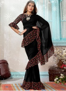 Traditional Designer Saree Printed Faux Georgette in Black
